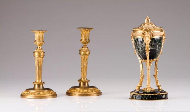 A pair of Louis XVI style candlesticks, FRESS
