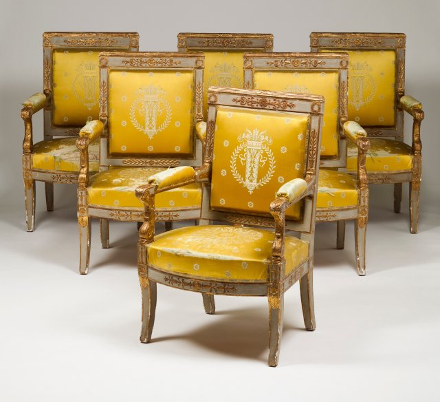An Empire set of six fauteuils and one settee