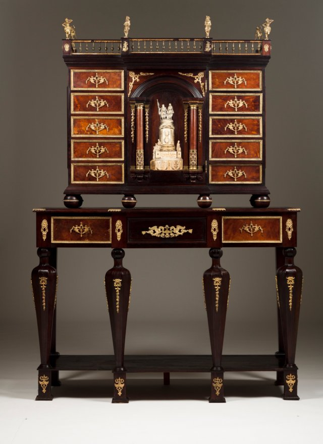 A cabinet with table