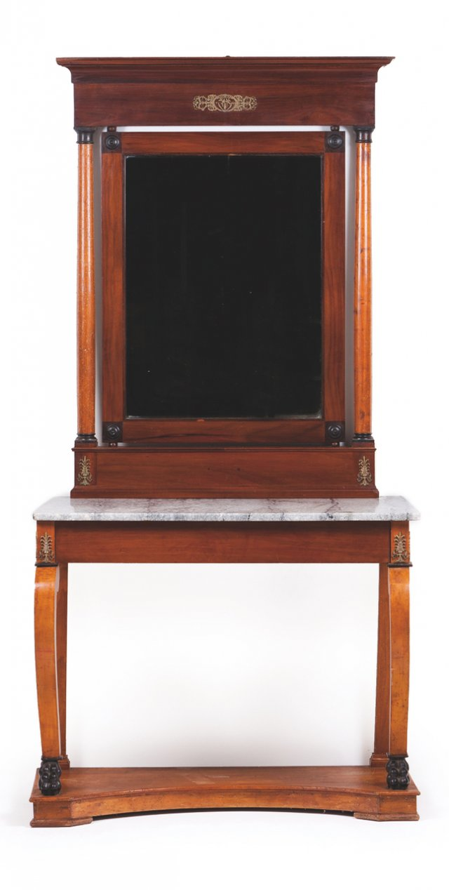 An Empire pier table with mirror