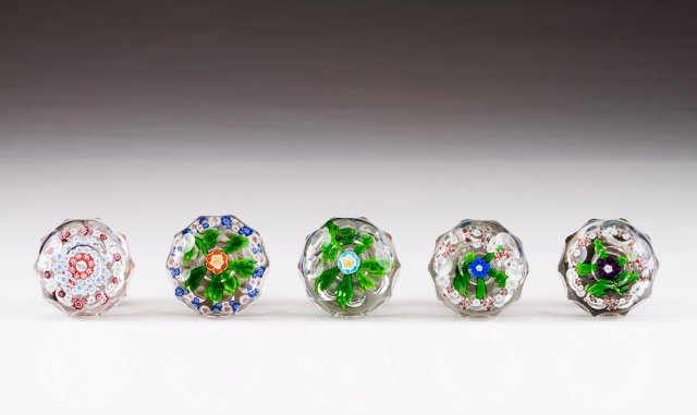 "Five ""millefiori"" crystal door handles"
