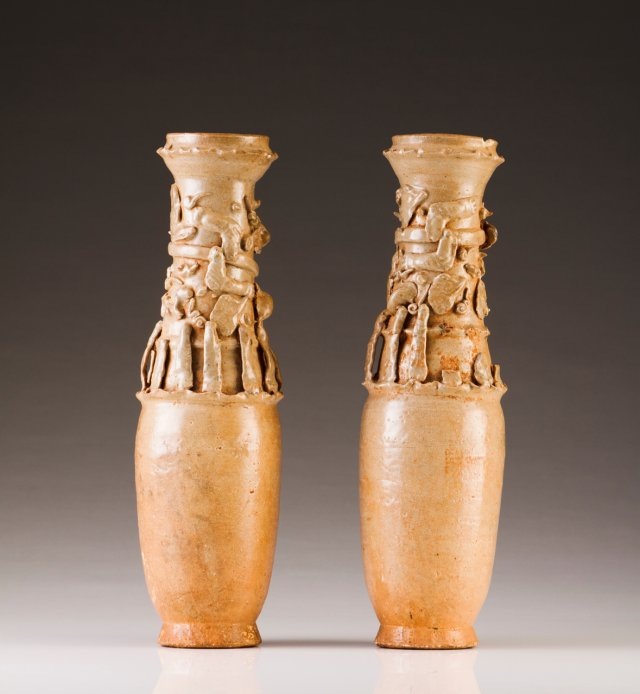 A pair of ceremonial vases