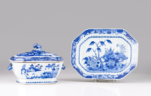 An octagonal tureen with dish