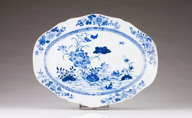 A scalloped oval dish
