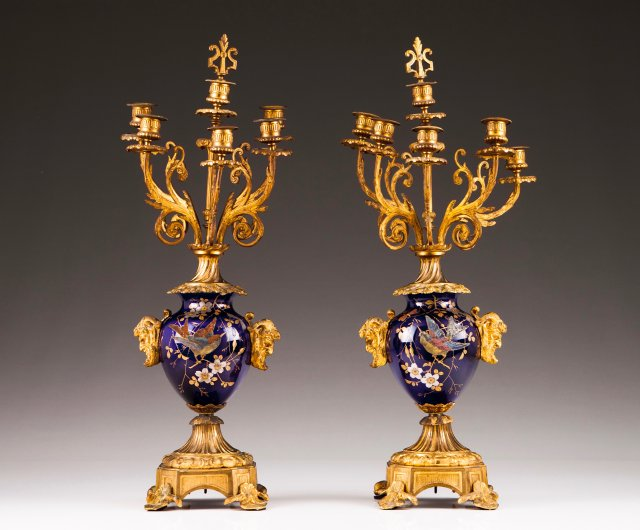 A pair of Louis XV style six-light candelabra