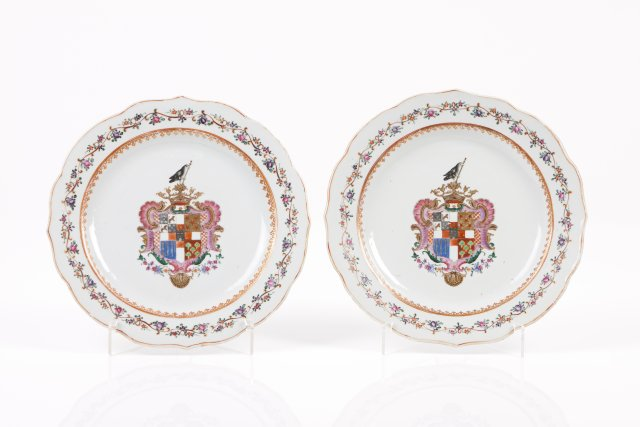 A pair of scalloped plates