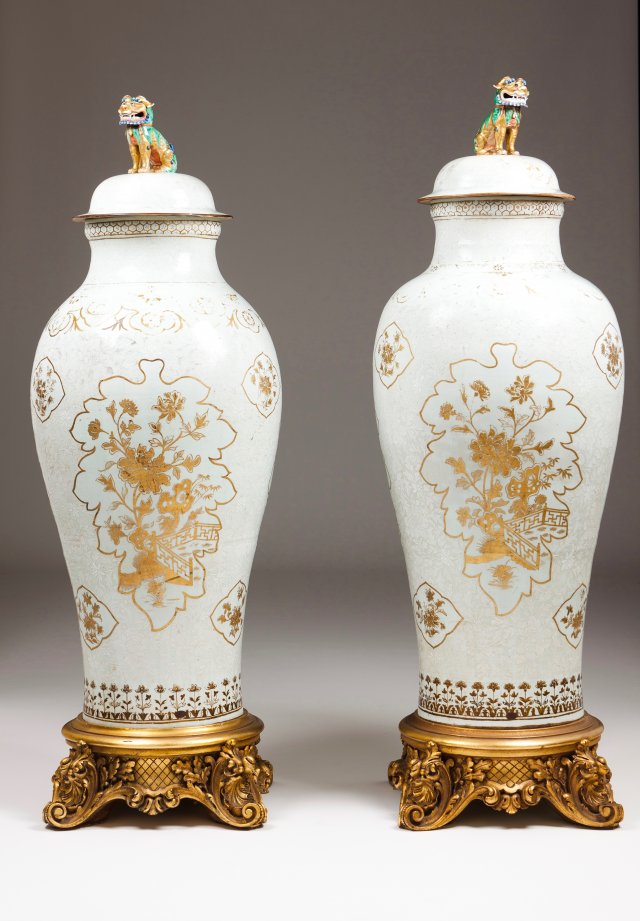 "A pair of large and unusual ""Soldier"" vases"