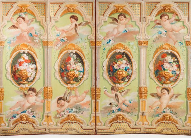 A Neoclassical four panel folding screen