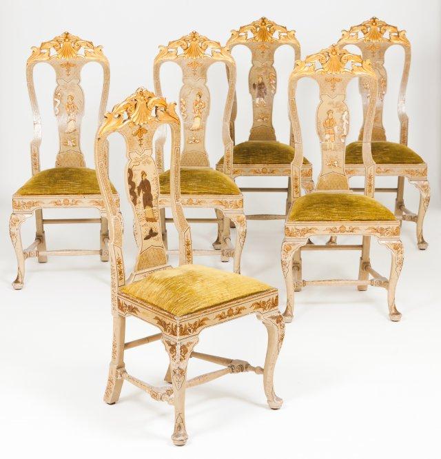 Six Goorge III style chairs