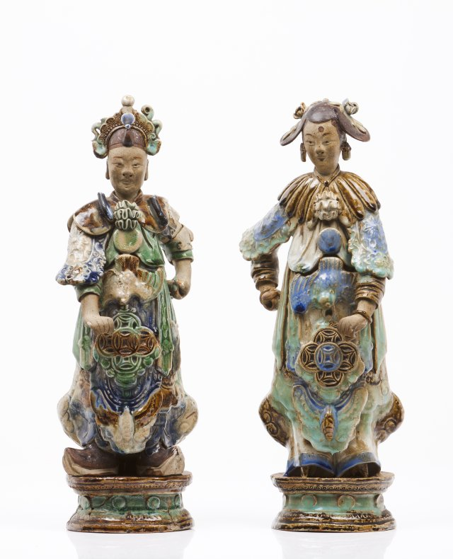 A pair of oriental figures