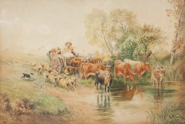 A shepherdess on a cart and cattle