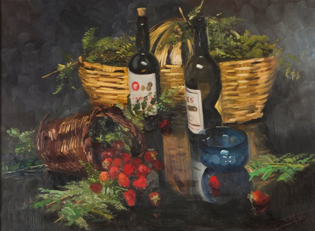 Still Life with wine and strawberry