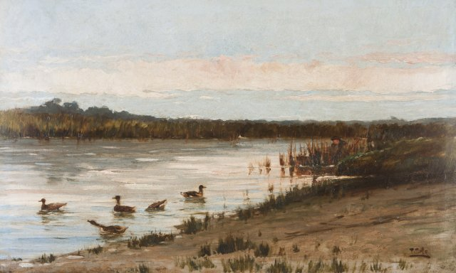 Landscape with river, ducks and hunters