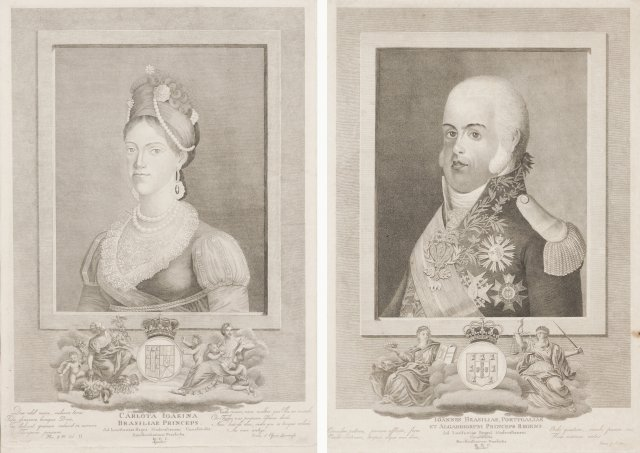 A portrait of D.João, Prince Regent, and of princess Carlota Joaquina