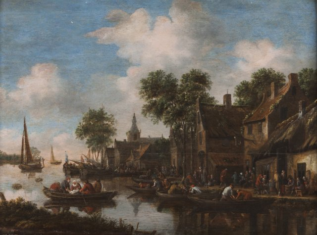 A riverscape with village and figures