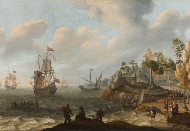 A bay with ships, buildings and figures
