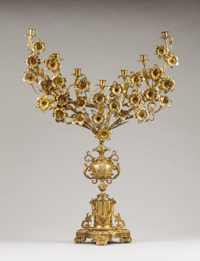 A palm/seven branch candelabra