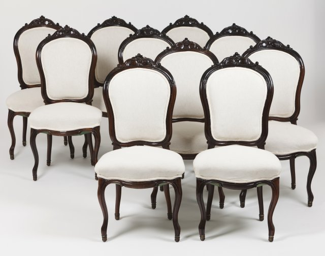 A set of ten Louis XV style chairs