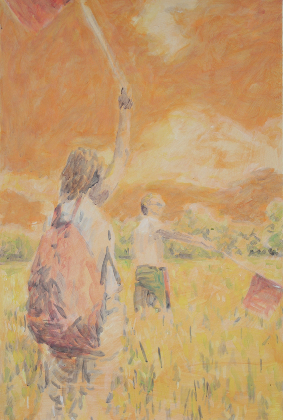 Two Figures Two Flags (study), 2013