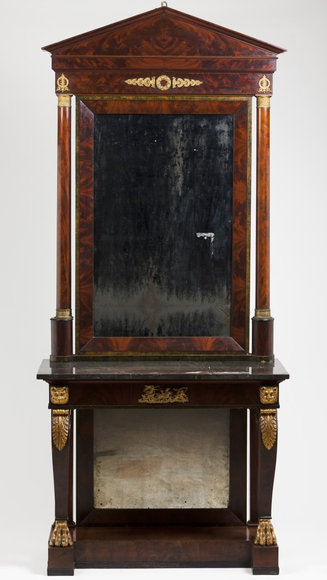 An Empire pier table and mirror