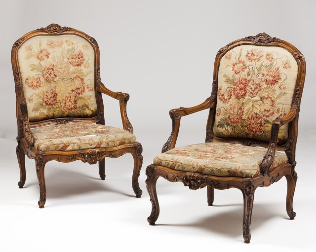 A pair of Louis XV style fauteuils