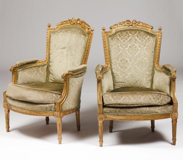 A pair of Louis XVI style bergères