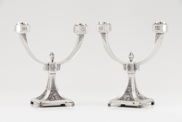 A pair of two branch Art Deco candelabra