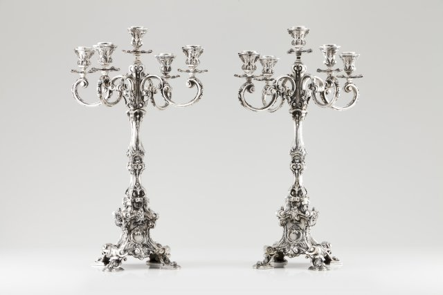 A pair of large five branch candelabra
