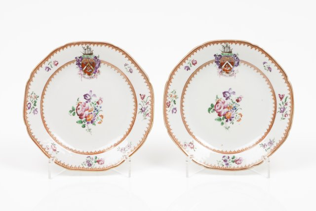 A pair of small heraldic plates