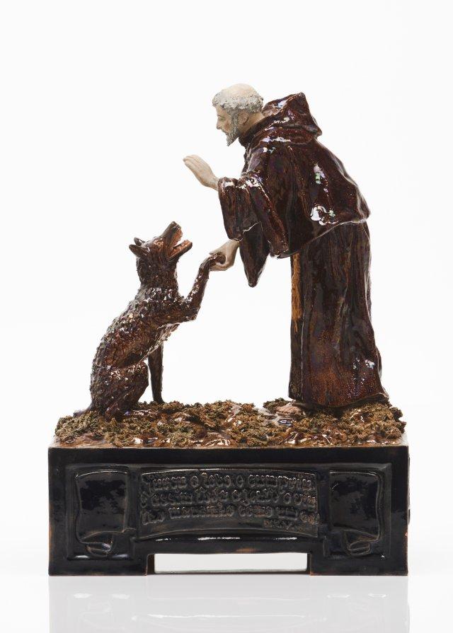 """Milagre de São Francisco de Assis domesticando lobo de Gubbio"""