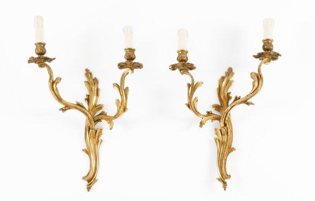 Quatro apliques de dois lumes estilo Luís XV