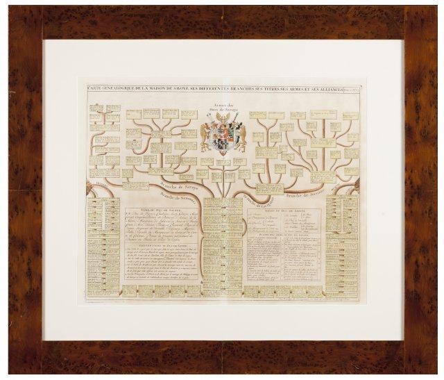 """""""Carte Geneologique de la maison de Savoye, ses different branches, ses titre, ses arms, et ses alliances"""""""