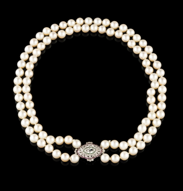 [Auction 73] Lot 1 – A two row pearl necklace