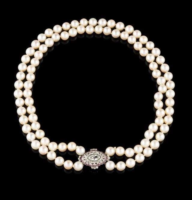A two row pearl necklace